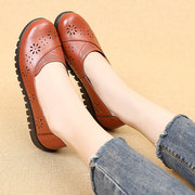 Flower Hollow Out Leather Soft Sole Slip On Casual Flat Shoes