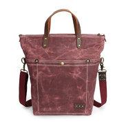 Hommes et femmes cuir véritable huile cire toile sac à main Vintage Crossbody Bag