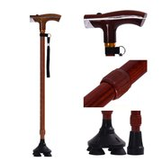 Adjustable Quad Cane Lightweight Walking Stick Hand Crutch with T Handle Crutches LED Light