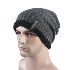Men Winter Thick Bonnet Knitted Caps Hat Outdoor Warm With Plush Skullies Beanies Hat