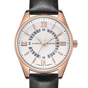 Relojes de cuero clásicos para hombre Calendario redondo único Números romanos Relojes de pulsera de cuarzo Waterprood