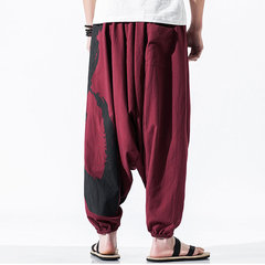 Mens National Style Loose Hanging Pants Printing Cotton Linen Casual Baggy Harem Pants
