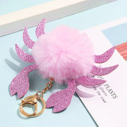 Women Faux Fur Crab Shape Bag Accessories Key Holder