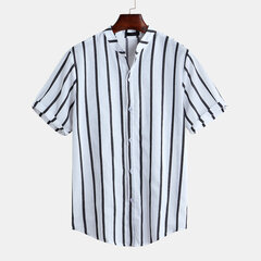 Mens Wild Fashion Business Style Sottile manica corta a righe Camicia