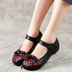 Handmade Knitted Leather Retro Flat Shoes