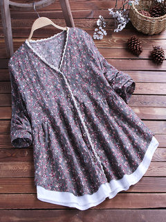 Floral Print Pleated V-neck Long Sleeve Casual Shirt