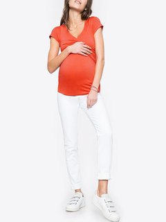 Solid Wrapped Neck Short Sleeve Maternity Nursing Top
