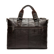 Genuine Leather Crossbody Bag 14'' Laptop Bag Horizontal Business Briefcase For Men