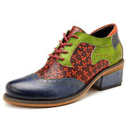SOCOFY Retro Clover Pattern Hand-colored Genuine Leather Lace Up Comfortable Shoes