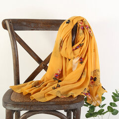 Womens Vogue Vintage Cotton Linen Embroidery Breathable Warm Scarf 180*70cm Oversize Shawl