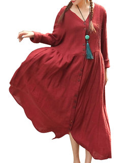 Vintage Button Ruffled V-Neck Maxi Dress For Women