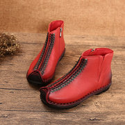 SOCOFY Retro Handmade Stitching Zipper Ankle Leather Boots