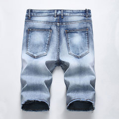 Casual Fold Five Point Short Jeans Fit Denim Shorts para homens