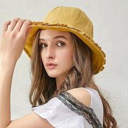 Femmes couleur unie coton pliableSunscreen Hat Bucket Hat Outdoor Casual Voyage Beach Sea Hat