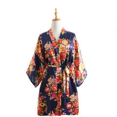 7 Colors Silk Cherry Blossom Pattern Short Kimono Gown Summer Nightgown Bathrobe