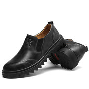 Men Wide Head Comfy Wearable Elastic Slip On Leather Shoes