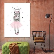 Cartoon Girl Flamingo Unicorn Canvas Poster Art Painting Prints Children Room Wall Decor