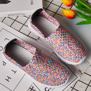Women Colorful Knitted Sport Walking Slip On Flat Shoes