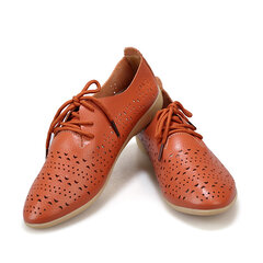 Ladies Flat Shoes Hollow Out Casual Shoes Women Soft Lace Up Loafers
