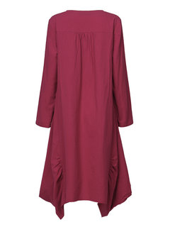 O-Newe Plus Size Solid O-Neck Long Sleeve Ruffled Asymmetric Dress For Women