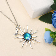 Retro Women's Sun Colorful Mermaid Scaly Resin Long Necklace Gift Sweater Accessory
