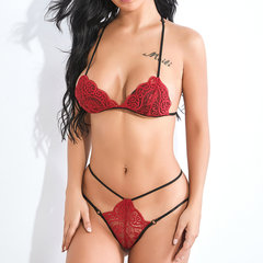 Sexy Lingerie Lace Halter Transparent Thong Bra And Panty Sets