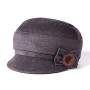 Women's Woolen Solid Bow Beret Cap Painter's Hat Fishermen Cap Ladies Hats Fashionable Comfortable