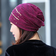 Women Stripped Rhinestone Lace Skullies Beanie Caps Casual Breathable Soft Flexible Pile Caps