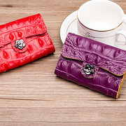 Women Solid Genuine Leather 26 Card Slot Wallet