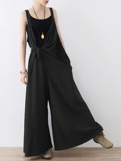 Fashion Striped Strap Wide Legs Jumpsuits With Belt