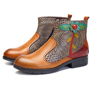 SOCOFY New Printing Retro Splicing Pattern Flat Ankle Leather Boots