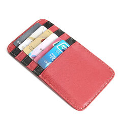 Genuine Leather Stitching Color Card Holder Purse For Women