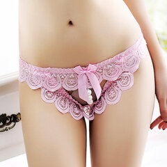 Sexy Lace Open Crotch Pearl Hollow Temptation Low Rise Thongs For Women