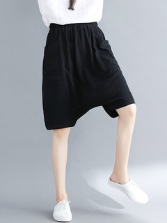 Vintage Drop-crotch Solid Color Loose Pockets Shorts