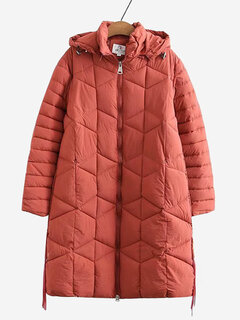 Casual Hooded Long Down Cotton Coat for Women