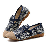 Floral Print Chinese Buttons Retro Flats