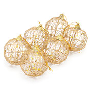 6 Piece Metal Balls Christmas Tree Gold Ornament Decoration Party Wedding 50mm