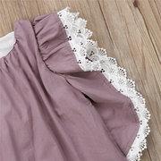 Принцесса с кружевами и короткими рукавами для девочек Платье Для 1-7Y