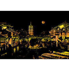 Bright City Scratch Scraping Drawing Paper DIY Painting Night Scene Creative Gift