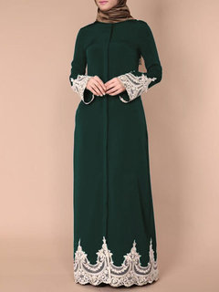 Fashion Full Buckle Lace Robes Muslim Long Dress