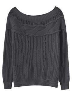 Women Casual Off-shoulder Hollow Stitching Long Sleeve Sweater