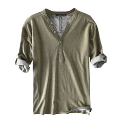 Mens Casual 100% Cotton Breathable Solid Color Half Sleeve Spring Summer Buttons T Shirts