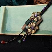 Colar de Charme De Madeira étnica das Mulheres Bronze Flor Ágata Pingente de Cristal Vestido Acessórios Colar