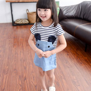 Cute Mouse Striped Cartoon Girl Dresses For 2Y-9Y