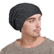 Mens Solid Color Stripe Warm Thick Wool Baggy Slouchy Beanie Skull Hats Ski Cap 6 Color Hats