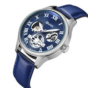 Business Automatic Skeleton Mechanische Uhr Ledergürtel Echtes Leder Casual Business Watch
