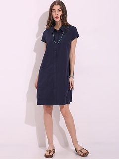 Casual Loose Turn Down Collar Short Sleeve Knee-Length Dresses