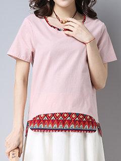 المرأة عارضة فضفاض س الرقبة أسفل مطبوعة قصيرة الأكمام قميص