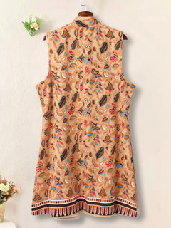 Folk Style Printed Stand Collar Sleeveless Long Vest Coat