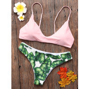 Sexy Leaf Print Backless Split High Elastic Padding Bikinis For Women